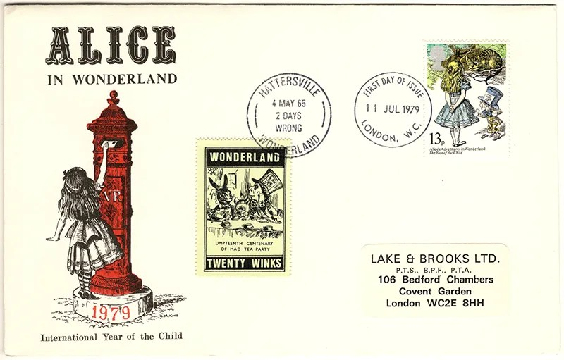 Gerald King - The Year of The Child - Set 4, Cover 2 (LB) - Philatelic Artist Gerald M King's 'Alice in Wonderland' Mr King was especially commissioned by Lake & Brooks in 1979 to design these special covers for 'The Year of the Child'.  Complete Set 4: