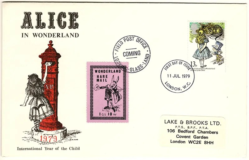 Gerald King - The Year of The Child - Set 4, Cover 4 (LB) - Philatelic Artist Gerald M King's 'Alice in Wonderland' Mr King was especially commissioned by Lake & Brooks in 1979 to design these special covers for 'The Year of the Child'.  Complete Set 4: