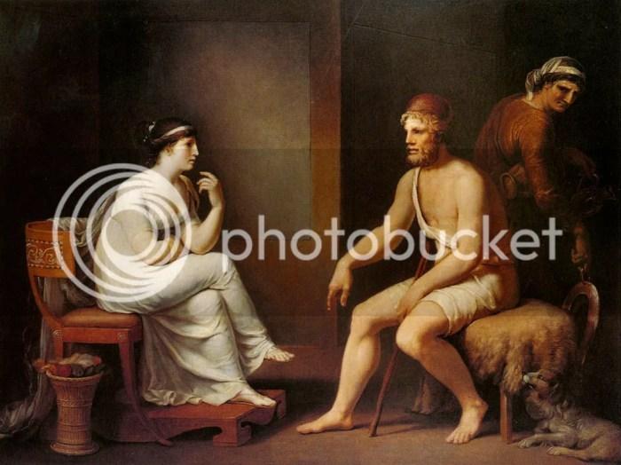 Penelope questions Odysseus to prove his identity (by Johann Heinrich Wilhelm Tischbein, 1801)