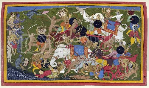 Battle at Lanka, Ramayana, by Sahib Din. Battle between the armies of Rama and the King of Lanka. Udaipur, 1649-1653