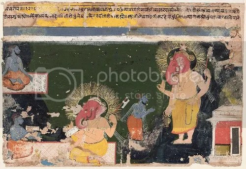 Ganesha writing Mahabharata (Rajasthan, 17th century) (via Wikipedia)