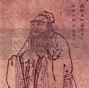 The teaching Confucius. Portrait by Wu Daozi, 685-758, Tang Dynasty