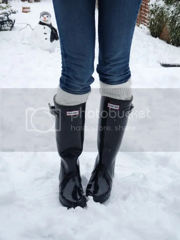 Glossy black Hunter wellies
