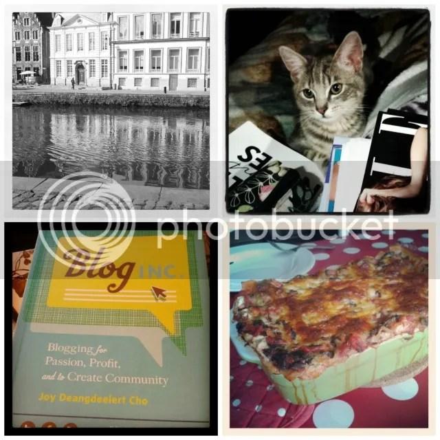 Vorige Week: Aan de Korenmarkt - Met het kitten magazines lezen - Blog Inc. lezen - Vegetarische Lasagna
