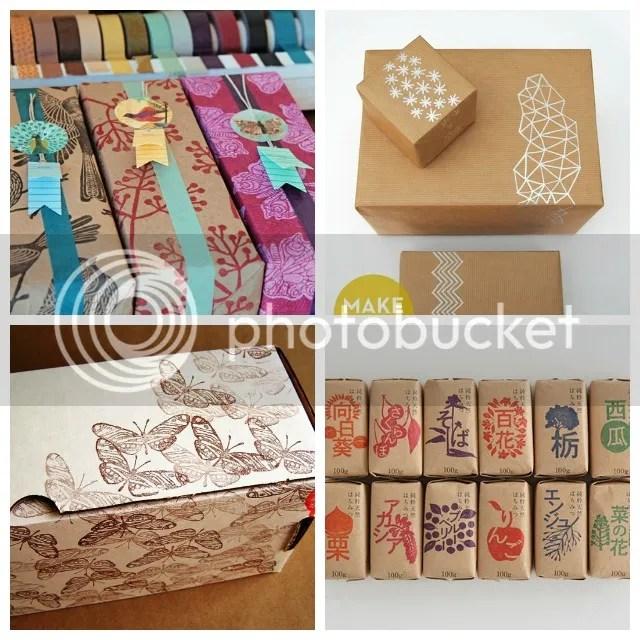 Mooie pakjes - Bruin kraftpapier + stempels