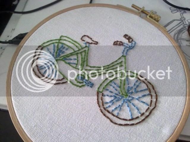 Geborduurde fiets