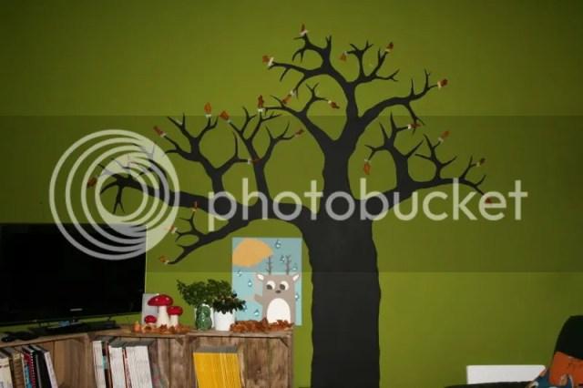 Krijtbord boom - Een beetje decoratie met blaadjes