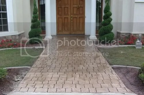 stamped concrete overlay walkway