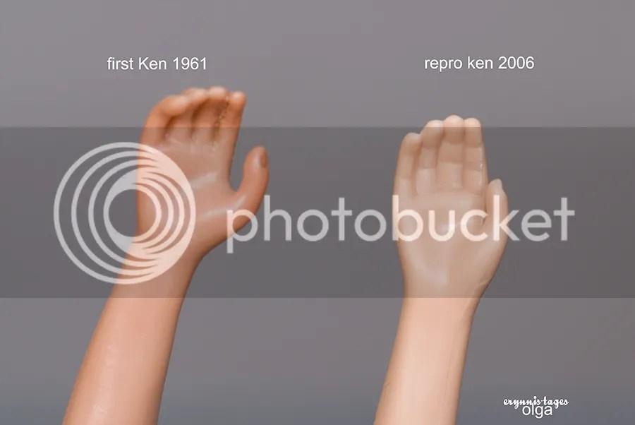 Vintage Ken's hand vs repro Ken's hand