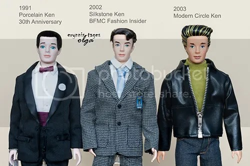 Ken dolls inspired by facemold of The First Ken: 1991 porcelain 35th Anniversary Ken, 2002 Silkstone BFMC Fashion Insider Ken, 2003 Modern Circle Ken. None of them are literal repro of the original vintage Ken mold.