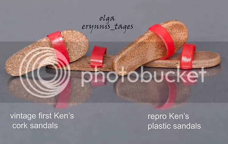 first Ken's cork sandals vs repro Ken's plastic sandals