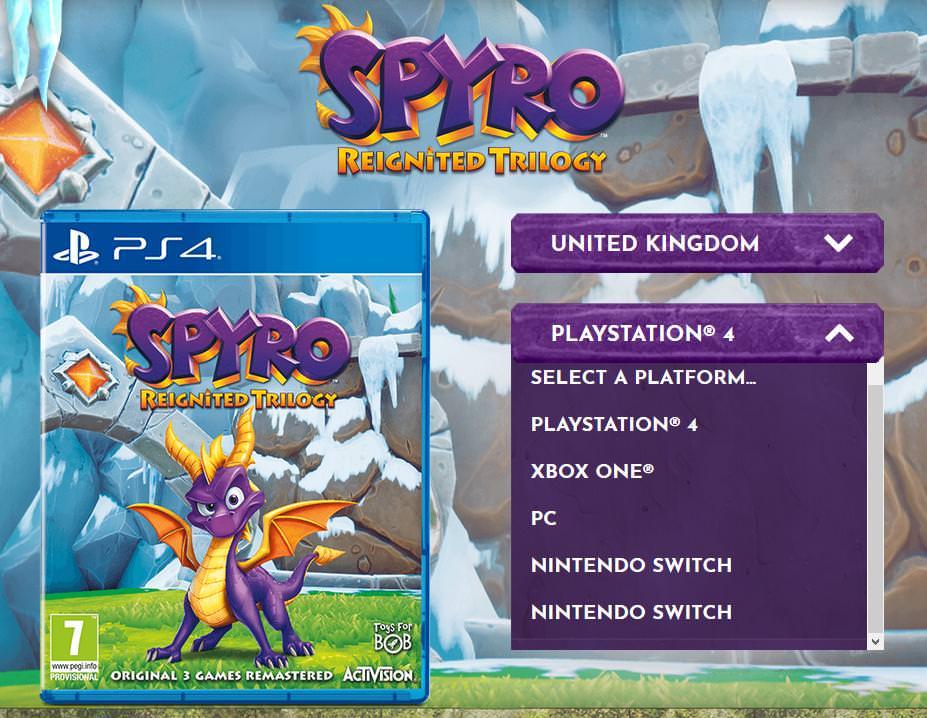 spyro reignited trilogy, Spyro Reignited Trilogy: Avvistate le versioni PC e Switch sul sito ufficiale