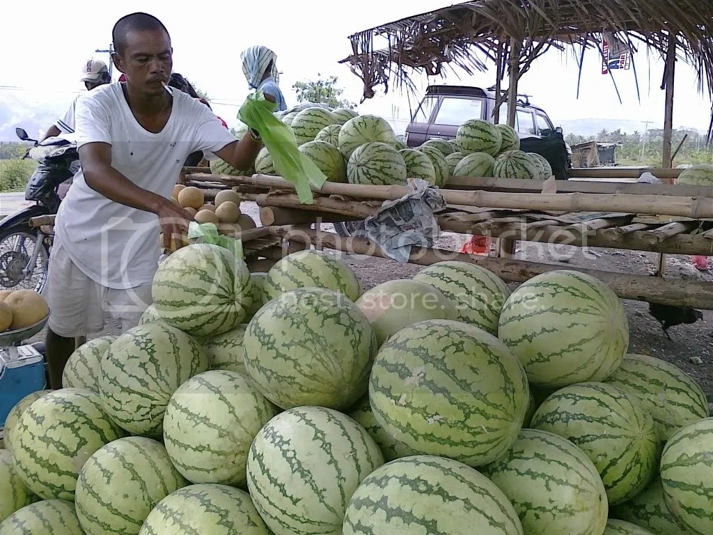 Watermelons sold along national highway outside Koronadal, South Cotabato