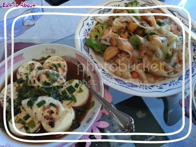 Stir fried Veggies with Mochi Fishcake and Steamed Egg Tofu