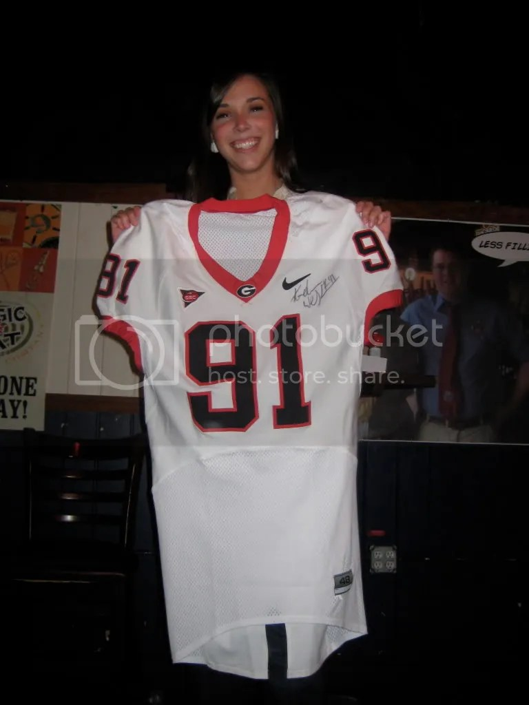Our hard-fought winner from Alpha Delta Pi Sorority with her Football jersey from the 2007 Georgia-Florida Game!
