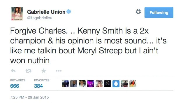 , Charles Barkley Tells Gabrielle Union That She And Meryl Streep Don't Belong In The Same Sentence