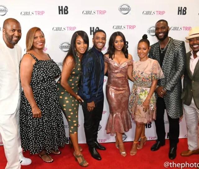 Girls Trip Cast Queen Jada Regina Hall Larenz Kofi Cut Up On The Carpet At New Orleans Screening