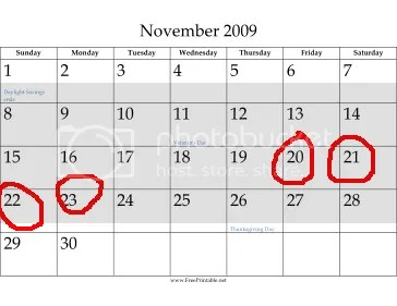 Timeshare Relief November 2009 Calendar