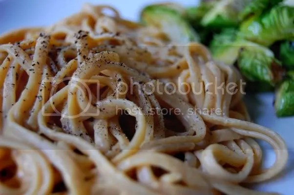 Creamy Pumpkin Linguini with Roasted Brussel Sprouts