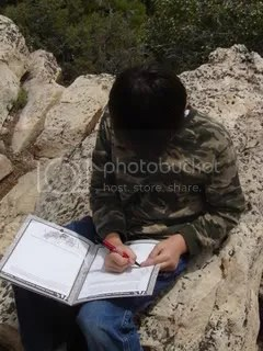 Ethan works on his Junior Ranger book
