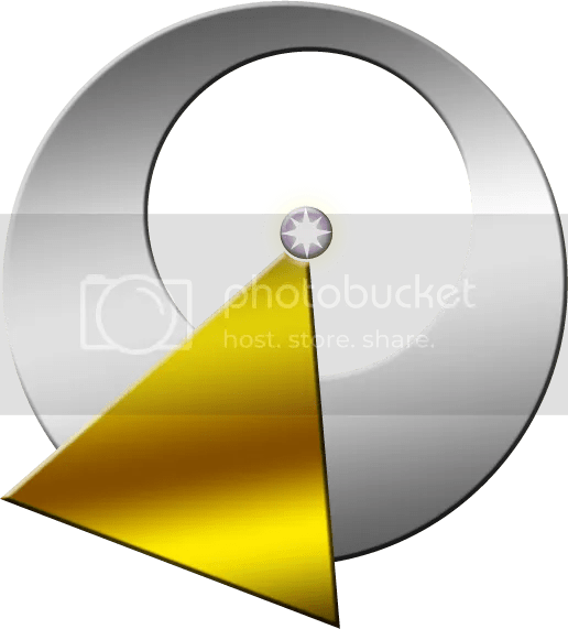 Image of the IDIC symbol: a silver circle with the center cut out, intersected with a gold triangle; the triangle is tipped with a star inside the cut out of the silver circle.
