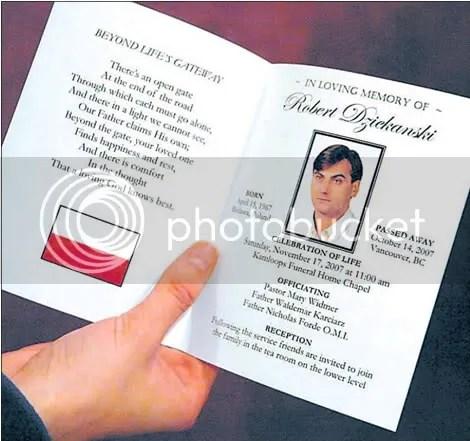 Memorial card for Robert Dziekanski