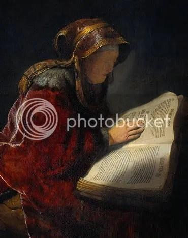 Rembrandt: The Prophetess Anna (detail)
