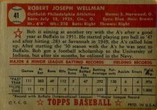 1952 Topps Robert Wellman Red Back