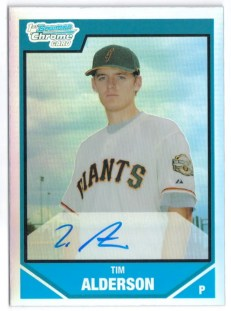 2007 Bowman Chrome Draft Tim Alderson Autograph RC