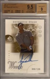 2001 Sp Authentic Tiger Woods Auto Gold BGS 9.5