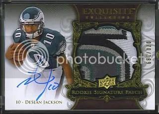 2008 Desean Jackson Exquisite Patch Auto Rookie 5 Clr Color /199