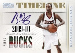 09-10 Panini National Treasures Timeline Brandon Jennings