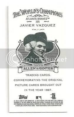 Javier Vazquez 2009 Allen & Ginter Ad Back