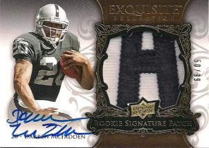 2008 Upper Deck Exquisite Football Darren McFadden RC Patch Autograph/Auto Card /99