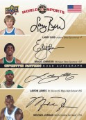 2010 World of Sports Quad Magic/Bird/LeBron/Jordan Auto Autograph