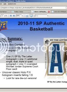 2010/11 Sp Authentic Michael Jordan By The Letter Autograph