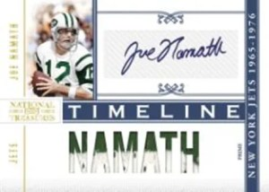 2010 Panini National Treasures Joe Namath Autograph Jeresy Timeline Insert Card
