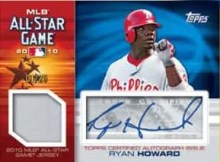 2010 Topps Update Series Ryan Howard All Star Autograph Relic