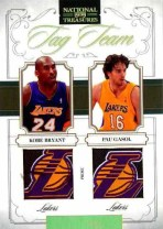 09/10 Panini National Treasures Kobe Bryant Pau Gasol Tag Team Jersey