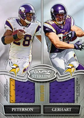 2010 Bowman Sterling Adrian Peterson Toby Gerhart Dual Relic Jersey Card Box Topper