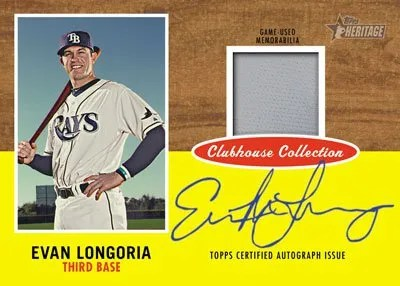 2011 Topps Heritage Evan Longoria Clubhouse Collection Autograph Relic Card