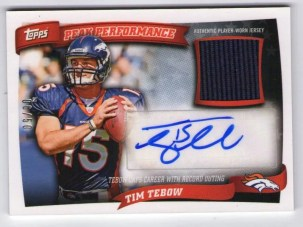 2010 Topps Peak Performance Tim Tebow Autograph Jersey /50