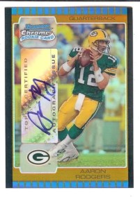 2005 Bowman Chrome Aaron Rodgers 1/1 Gold Autograph RC Card
