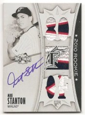 2010 TRIPLE THREADS MIKE STANTON 1/1 AUTO PATCH WHITE WHALE