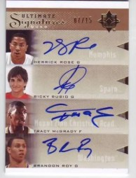 2010/11 Ultimate Basketball Quad Auto Rose/Rubio/McGrady/Roy