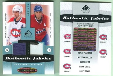 10-11 SP Game Used Price Plekanec Gionta FIVE PATCH 5/7