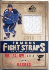 10/11 Sp Game Used Fight Straps DAVID BACKES