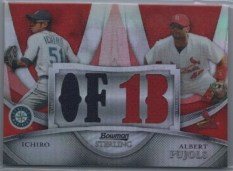 2010 Bowman Sterling Dual Red Refractor Jersey Ichiro/Pujols