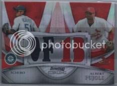 2010 Bowman Sterling Dual Red Refractor Jersey Ichiro/Pujols