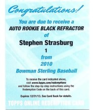 2010 Bowman Sterling Stephen Strasburg Autograph EXCH